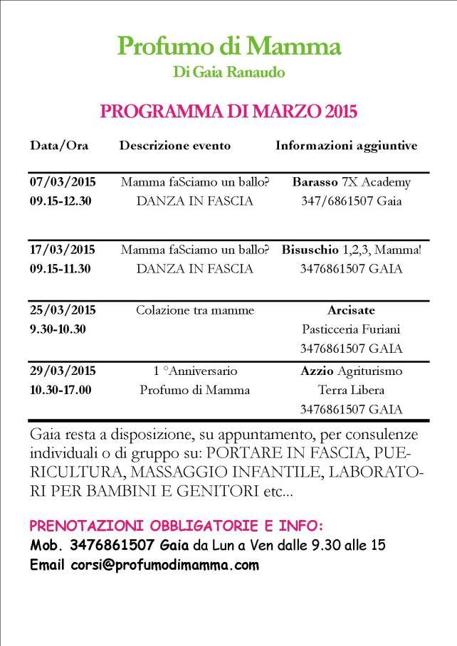 Programma delle attività del mese di Marzo2015